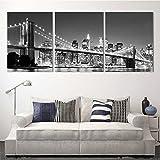 XrsArt de 3 piezas de pared moderna de la pintura del puente de Brooklyn de Nueva York Inicio decorativo cuadro del arte de la pintura en la impresión en lona (No Frame) Sin marco FCa32 36 pulgadas x 16 pulgadas