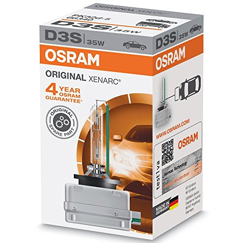 OSRAM Xenarc Original D3S, HID Xenon-Scheinwerferlampe, Erstausrüsterqualität, bis zu 4300K, 66340, Xenon-Brenner, Faltschachtel (1 Lampe)