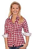 Spieth & Wensky Trachten Bluse Crashoptik, Langer Arm - WAFFEL - rot, schwarz, Größe 48