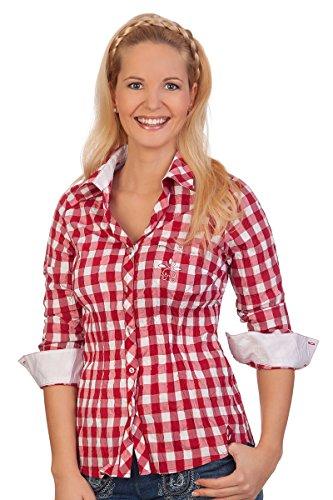 Trachten Bluse Crashoptik, langer Arm - WAFFEL - rot, schwarz, Größe (Kostüm Waffel)