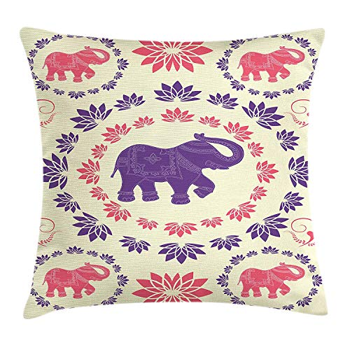 ow Pillow Cushion Cover, Colorful Elephants Flowers Dancing Animals Festival Traditional Ethnic Art, Decorative Square Accent Pillow Case, 18 X 18 Inches, Pink Purple Cream ()