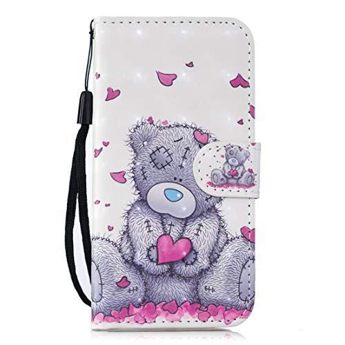 Beddouuk Huawei P20 Lite Hülle,Huawei P20 Lite Ledertasche,PU Leder Flip Brieftasche Wallet mit Standfunktion Kartenfach Retro Muster Folio Notebook Case Klapphülle-Bär -