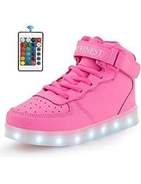 AFFINEST Unisex niños Cargador USB luces LED High Top luminoso Cordones de deporte casual Sneaker Zapatos