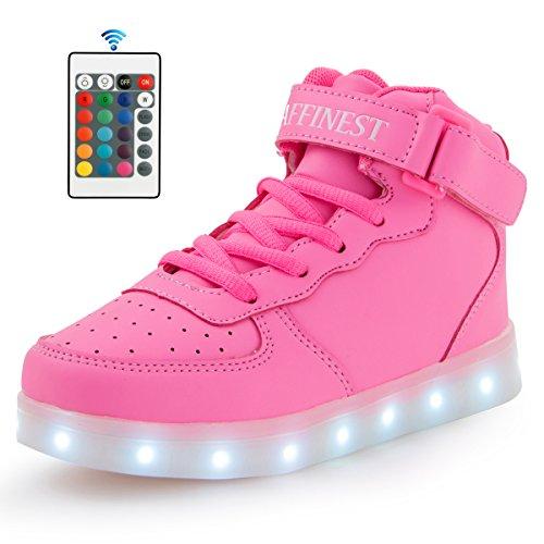 AFFINEST Unisexe chaussures enfant High Top LED chaussures clignotant chaussures de sport pour les enfants Rose