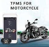 KUNFINE Motorrad Bluetooth Reifendruck-Kontrollsystem TPMS Handy APP-Erkennung 2 Externe Sensoren