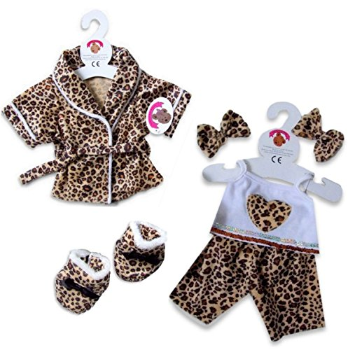 Teddybär Kleidung Bademantel Leopard Pyjama & Hausschuhe fit Build a Bear factory Teddies (Leopard Teddies)