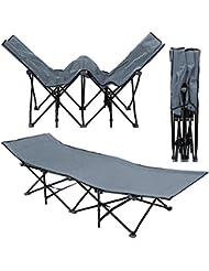 Lit de camp pliable de AMANKA | portable avec sac incl | idéal pour faire du camping voyager se bronzer | structure en acier 190x70cm 10 pieds | Gris