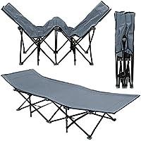 Catre de camping plegable de AMANKA | Cama para ir de acampada broncearse + Bolsa para transporte | 10 piernas catre de campamento portátil | estructura de Acero 190x70cm | Gris
