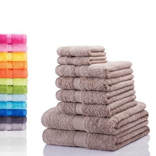 Etérea Carli 8 TLG. Handtuchset, 4X Handtücher, 2X Duschtücher, 2X Gästetücher - Taupe|Qualitäts Frottierware 500 g/m² 100% Baumwolle