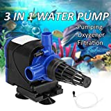 #7: RS Series 3 in 1 Submersible Water Pump for Fish Tank Aquarium Air Filter Pond Fountain Sump Used for Pumping,Oxygenation and Filtration (RS-4500)