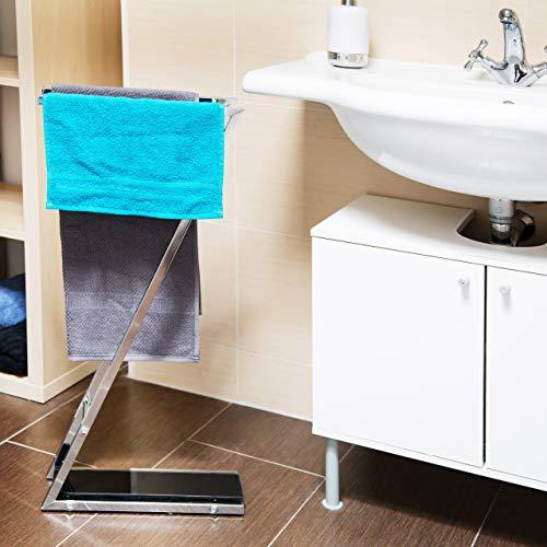 Relaxdays Handtuchständer GLASS mit 2 Handtuchstangen HBT: 78 x 13,5 x 35,5 cm Handtuchhalter aus Glas und Metall in Edelstahl-Optik als kleiner Herrendiener oder Kleiderständer im Bad, silber-schwarz -