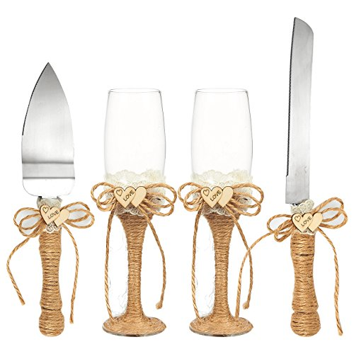 4Kuchen Messer, Pie Server Set mit Hochzeit champagner Gläser Set ¡V 2anrösten Champagner Flöten, 1Pie Server und 1Cuttermesser, Bride Groom Geschenke mit Jute Griffe