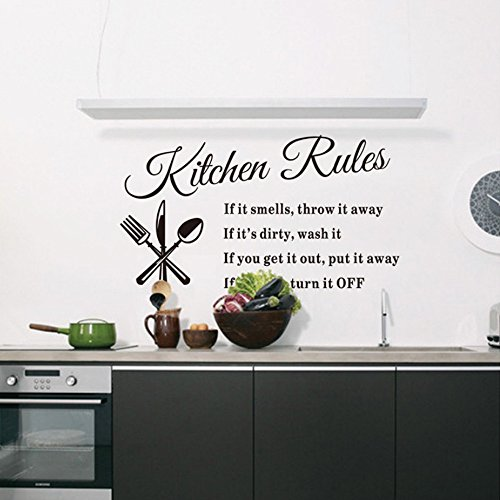 Kitchen Rules Sticker Removable Vinyl Wall Decals Inspirational Letter Wall Art For Kitchen, Dining Room,14 X 24¡­