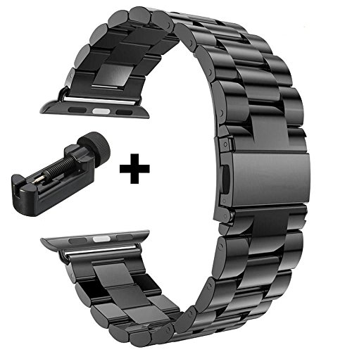 Taslar(TM) Premium Design Top Quality Stainless Steel Band Strap Bracelet With Metal Band Adjuster For Apple Watch Series 1 & 2 - 42MM - Black