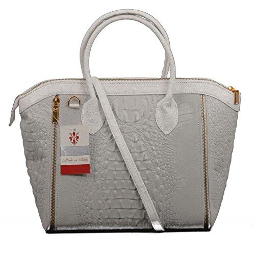Made in italy femme anses de sac en forme de cube alligator relief cuir croco blanc/gris