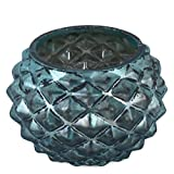 Teelichtglas Diamond-Design Glas Windlicht Deko (Blau, 7x9x9cm)