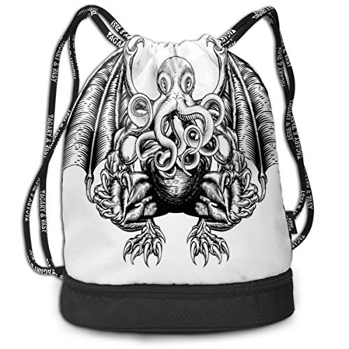 LULABE Printed Drawstring Backpacks Bags,Cthulhu Monster Evil Fictional Cosmic Monster In Woodblock Style Illustration Print,Adjustable String Closure
