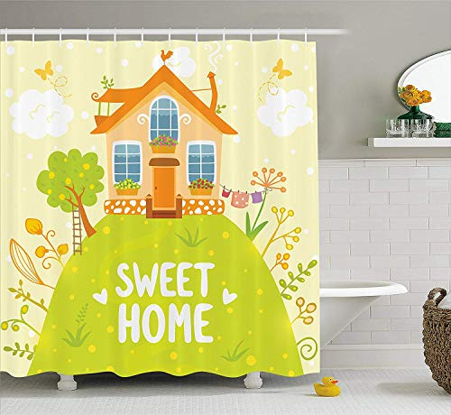 tgyew Home Sweet Home Shower Curtain, Cartoon Style Cottage Hut on Green Hilltop with Flourishing Garden Morning, Fabric Bathroom Decor Set with Hooks,60 * 72inch Extra Wide, Multicolor -