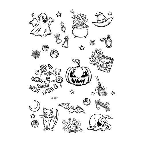 1 STÜCK NEUE Wasserdichte Halloween Decor Luminous Temporäre Tätowierung Aufkleber Gesicht Aufkleber Persönlichkeit Partei Maskerade Tattoo sleeve, Le-007, Russische Föderation