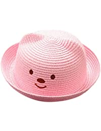 ALIKEEY bébé Cartoon enfants chapeau respirant chapeau de paille enfants  chapeau Mâle et femelle enfant chat oreilles… f59f8cd52a2