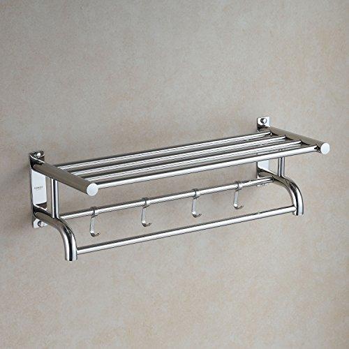 Eridanus mensola e portasciugamani parete in acciaio inox sus304 inossidabile spazzolato mensola da bagno portasciugamano con ganci, scaffale portasciugamani con barre, stile hotel(60cm*15cm*22.5cm)