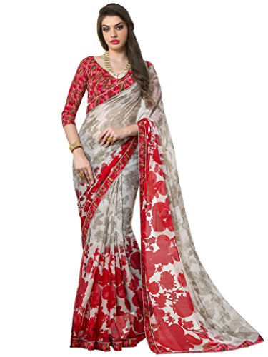 Sarees (Vastrang Sarees Women\'s Cream & Red Color Beautiful Printed Pure Georgette Designer Party wear printed Saree with Art Silk Print Lace Border & same Border Matching Printed Art Silk Blouse_VS5