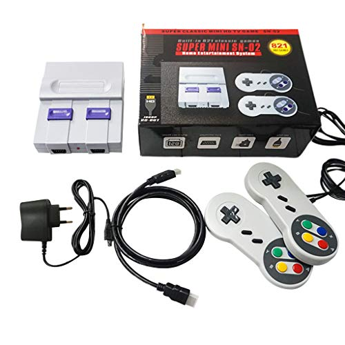 i SNES NES Neue Handheld-Spielkonsole Retro Tragbare Videospielkonsole TV Game Player Eingebaute 821 Classic Games Mit Dual Gamepads Kinder (EU Plug) ()