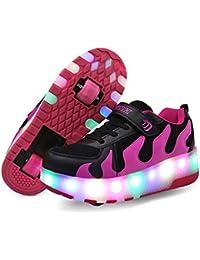 Unisex Niños LED Zapatillas de Skateboard con Ajustable Ruedas,LED Luz Parpadea Luminoso Deportes al