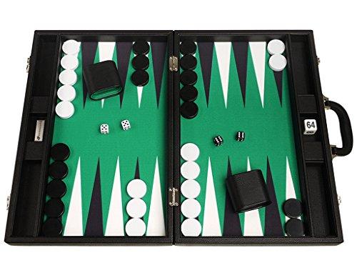 48 x 64 cm Premium Backgammon Set - Schwarzes Brett mit weißen und schwarzen Punkten