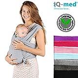 Baby-Tragetuch von iQ-med® | aus BIO-Baumwolle | atmungsaktiv und leicht | inkl. leicht verständlicher Anleitung | Babytragetuch, Baby-Trage, Trage-Tuch, Baby, Trage, Tuch, Sling, Wrap Carrier (Hellgrau)