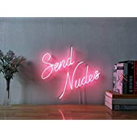 Send Nudes Real Glass Neon Sign For Bedroom Garage Bar Man Cave Room Home Decor Personalised Handmade Artwork Visual Art Dimmable Wall Lighting Includes Dimmer
