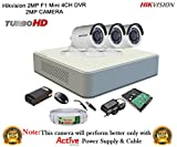 #4: Hikvision 2MP DS-7104HQHI-F1 4CH DVR 1Pcs, Full HD 2MP DS-2CE16DOT-IR Bullet Camera 3Pcs + 1TB HDD + Active Cable Full Combo
