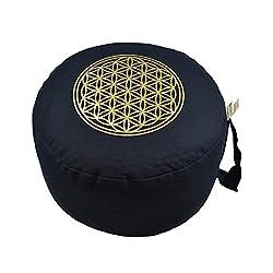 """Herbalind AZ6658 Yogakissen Meditationskissen rund -""""Blume des Lebens"""" - Ø 28 cm und Sitzhöhe 16 cm - Yoga Sitzkissen mit Dinkelfüllung - blau mit Druck in gold"""