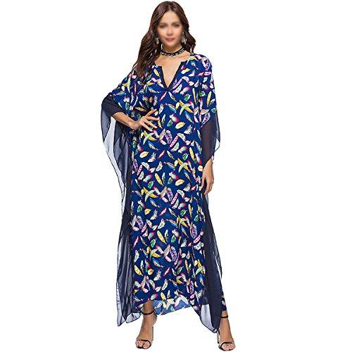 Milya Damen Sommer Maxikleid Strandkleid Beach Partys Kleid Sommerkleider Lang mit V-Ausschnitt und Fledermaus-Ärmel Bunte Feder Blau Muster