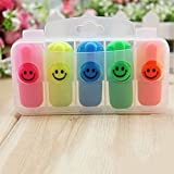 #6: DEZIINE Cute Smile Face Fluorescent Highlighter Pen Escolar Papelaria WaterColor Marker Pen For Painting School Supplies (12pcs/Set Of 2)