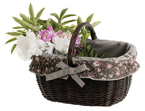 Einkaufskorb aus Weide, Weidenkorb in wengegrau, oval, Bügelkorb mit Garnierung, Geschenkkorb