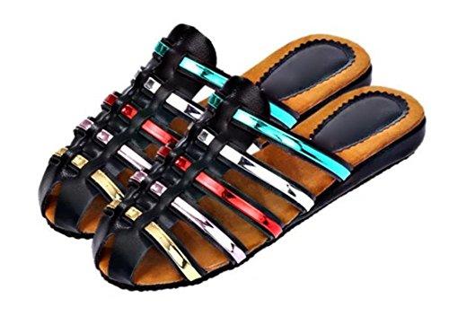 Baotou chaussures plates sandales dames et pantoufles intérieur à domicile Black