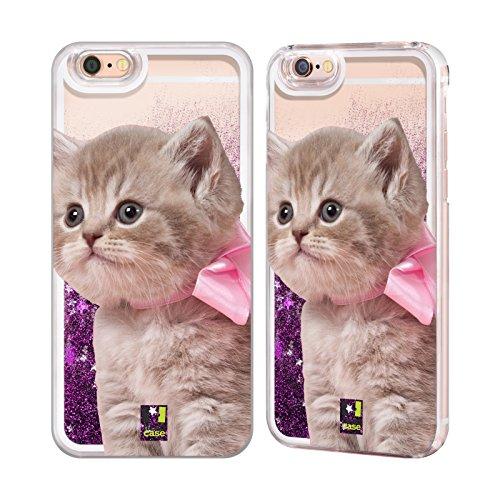 Case + Folie + Rosa Stylus Hartschale Back Cover für Apple iPhone 5/5S/SE Liquid Glitzer Rosa Katze/Kitty/Kätzchen mit Schleife