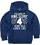 THIS WHAT AN AWESOME 4 YEAR OLD LOOKS LIKE Navy Boys 4th Birthday Hoodie In Size 5-6 Years With A White Print. Edward Sinclair Hoodie