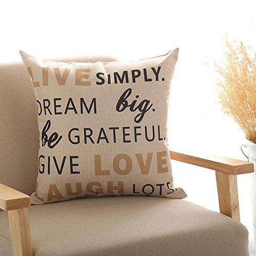 Venkaite federa cuscino cotone misto lino federe per cuscini famiglia divano decorativo 45 x 45 cm