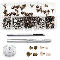 Yakamoz 120 Set 2 Tailles Rivets pour Cuir et 3 Pièces Outil de Fixation Métal Rivet pour Bricolage Leathercraft, Rivets de Remplacement, 2 Couleurs (Argent, Bronze