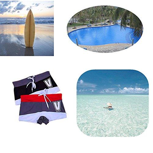 Herren Bademode , JELEGAN Bademode Schlank Badeshorts Tragen Badeanzug Kurze Hose Strand Heiße Quelle Surfen Größe Optional Grau-Blau-Weiß