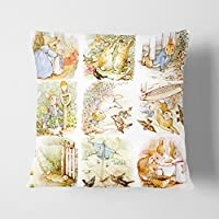 "Big Box Art ""Beatrix Potter el Cuento de Peter Rabbit 2"" Gris con cojín Manta Almohada,, 43x 43cm"