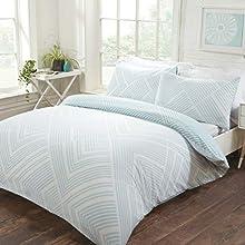 Sleepdown Striped Geometric Duck Egg Reversible Easy Care Duvet Cover Quilt Bedding Set with Pillowcases - Double (200cm x 200cm)
