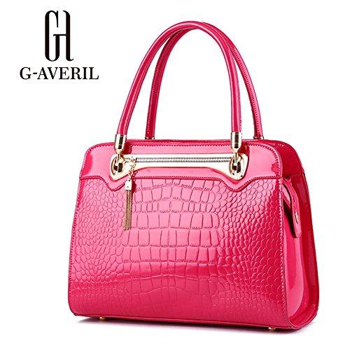 (G-AVERIL) Borse In Pelle Designer Top-Handle Spalla Del Tote Della Borsa Per Le Donne rosa rossa