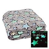 Kuscheldecke mit LEUCHTENDEN Sternen FILANTE   Decke 160x130cm Einhorn Stern Krabbeldecke (Sterne)