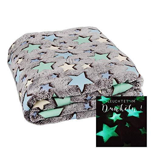 Coperta plaid con fantasia di stelle fluorescenti (si illuminano al buio!) | misure 160x130cm plaid da gioco per bambini con fantasia di stelle fluorescent (stelle)