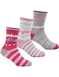 Zest Girls Cotton Rich Slogan Socks