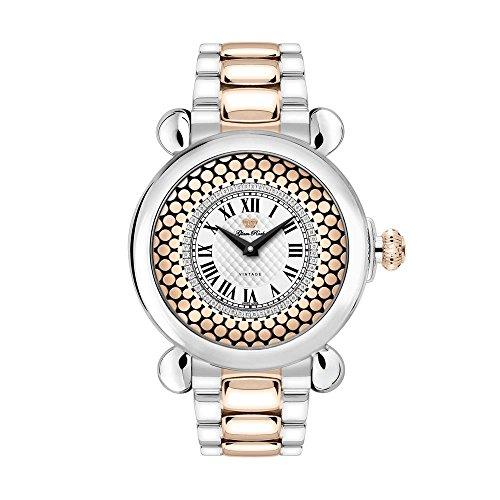 Glam Rock Women's Vintage 40mm Two Tone Steel Bracelet Steel Case Swiss Quartz MOP Dial Watch GR28072