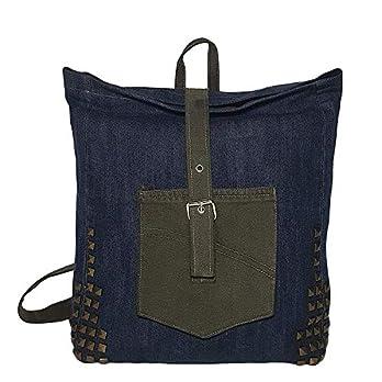 Damen Rucksack mit Nieten Denim Schultasche blau grün Roll-Top Tagesrucksack nachhaltig aus Jeansstoff mit Fronttasche Weihnachtsgeschenk für Frauen Mädchen